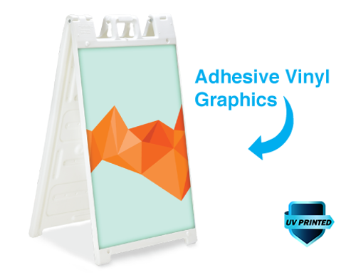 Standard Signicade A-Frame with printed vinyl graphics applied direct to surface.