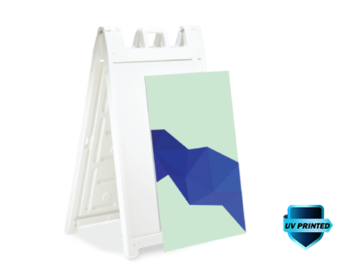 White Signicade Deluxe A-Frame Sign displaying a printed board removed from unit. Removes in seconds.