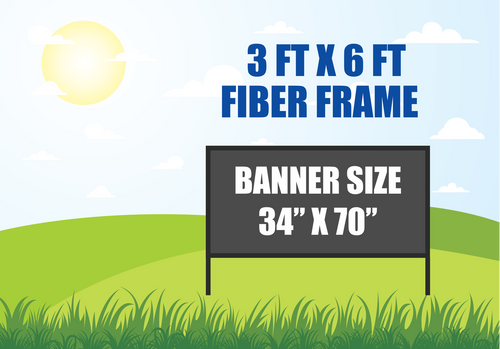 3 FT X 6 FT FIBER FRAME BANNER STAND HOLDS A 34 INCH X 70 INCH BANNER