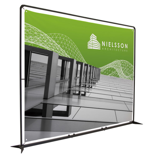10.5 ft x 7.5 ft Frameworx banner display with fabric print angled view