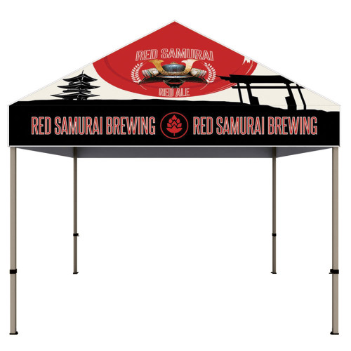 The Californian 10 ft x 10 ft Custom Printed Tent Canopy Front View Aluminum Frame