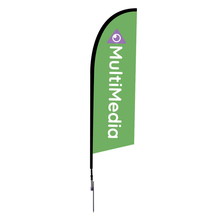 8.25 ft tall from ground to top tip of flag once installed into the ground. One of our most popular feather flags. Very strong.
