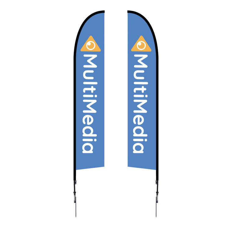 14ft tall from ground to top tip of flag once installed into the ground. One of our most popular feather flags. Very strong.