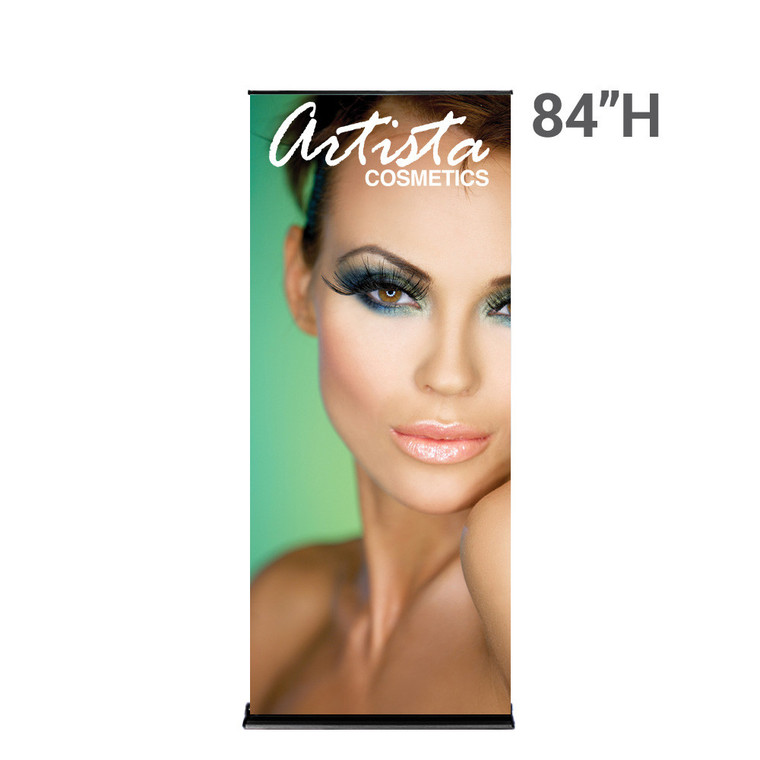 36 inch x 84 inch silverstep banner stand with printed graphic