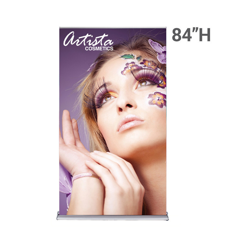 48 inch x 84 inch silverstep retractable banner stand