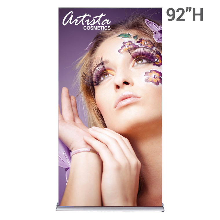 48 inch x 92 inch silverstep retractable banner stand