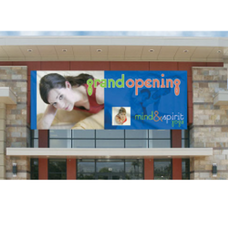 5 ft x 25 ft outdoor vinyl banner with hems, grommets and pole pockets.