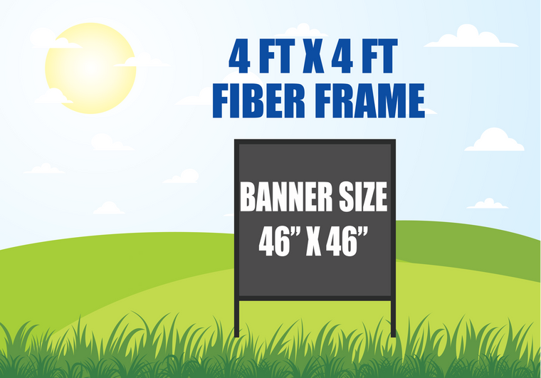 4 FT X 4 FT FIBER FRAME BANNER STAND HOLDS A 46 INCH X 46 INCH BANNER
