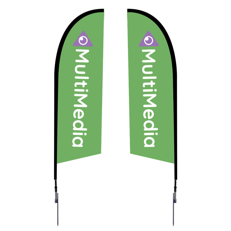 8.25 ft tall from ground to top tip of flag once installed into the ground. One of our most popular feather flags. Very strong. Double Sided