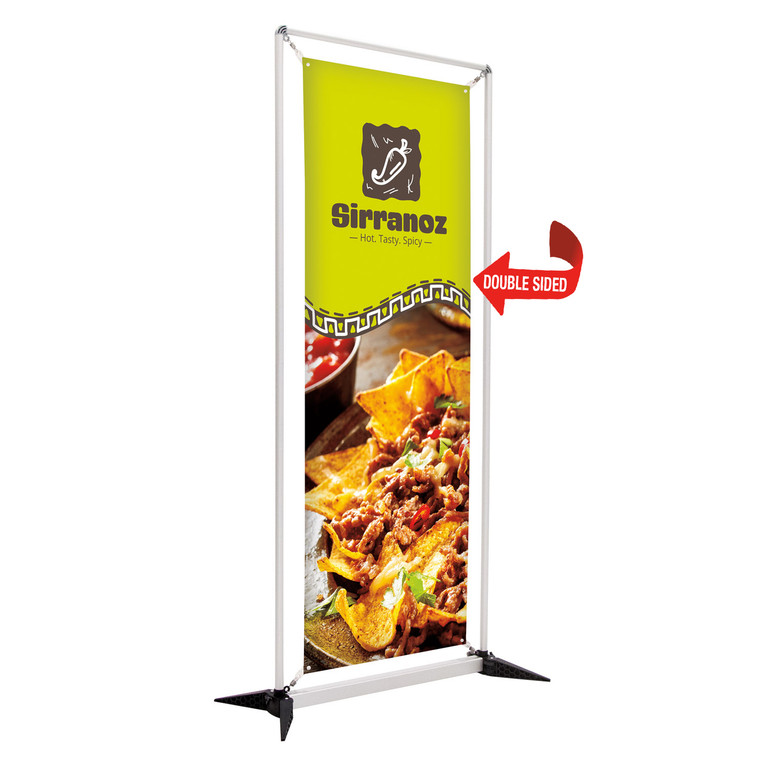 3 ft wide frameworx banner display stand with printed fabric graphic single sided. 7.5 ft tall DOUBLE SIDED