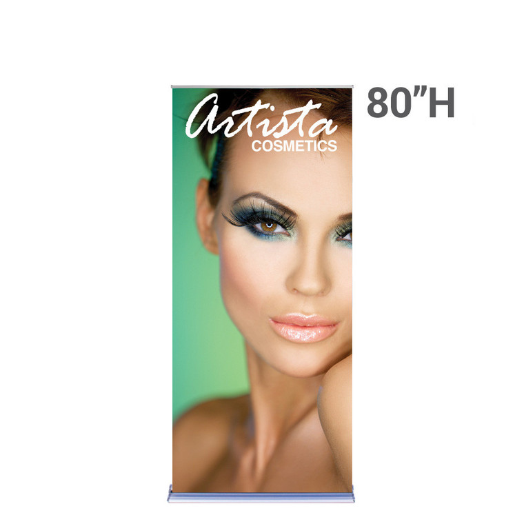 36 inch x 80 inch silverstep retractable banner stand