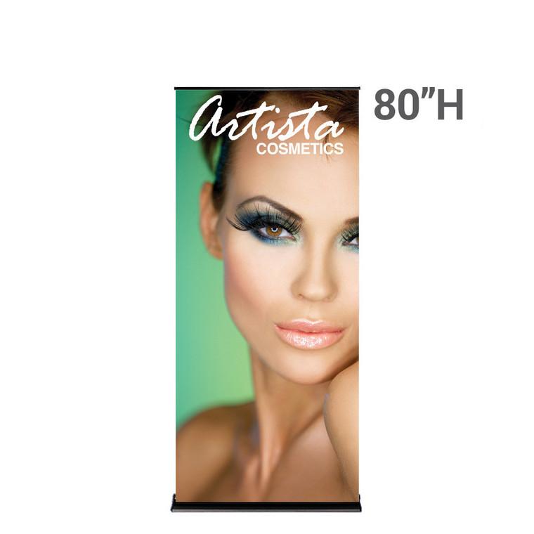 "SilverStep Retractable Banner Stand BLACK 36""W x 80""H Super Flat Vinyl"