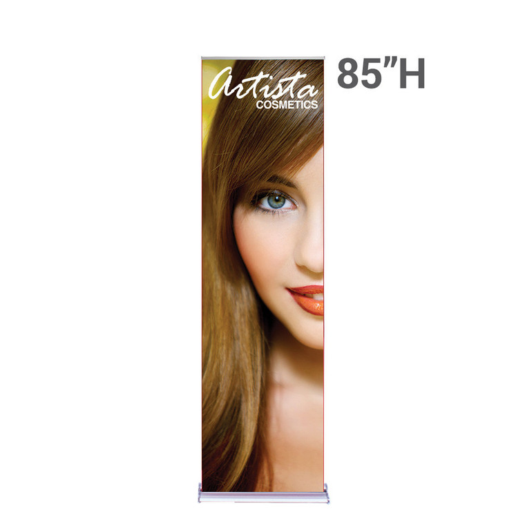 24 inch x 85 inch silverstep retractable banner stand