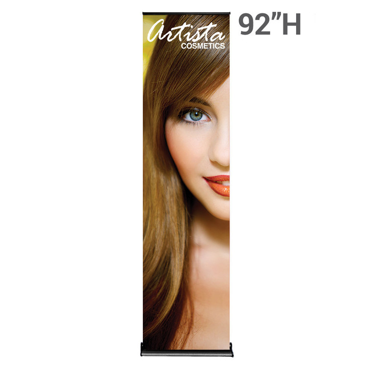 black 24 inch x 92 inch silverstep retractable banner stand
