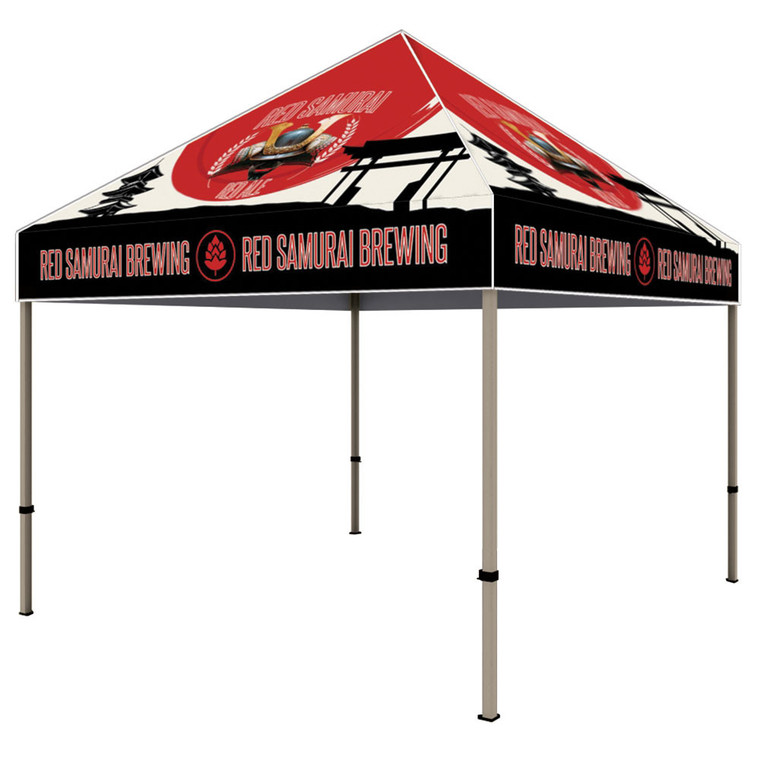 The Californian 10 ft x 10 ft Custom Printed Tent Canopy Side View Aluminum Frame