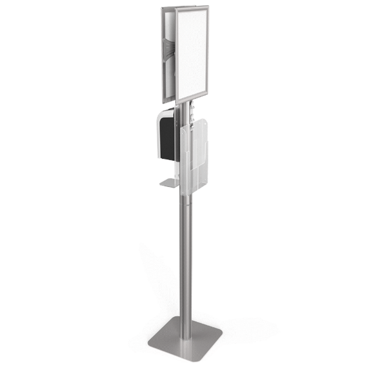 ZONA DOUBLE SIGNS SANITIZER STATION W/ DISPENSER AND LITERATURE RACK