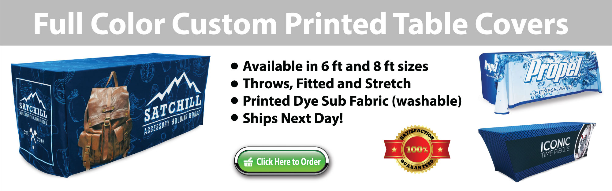 Full color custom printed table covers