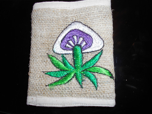Hemp Mushroom and leaf  Wallet  .