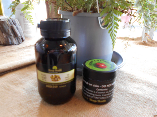 Arthritis, joint pain and skin pack. 100 Hemp Seed Oil Capsules plus 60ml Root Balm rub on