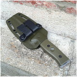 Green Kydex sheath on a GSO-5