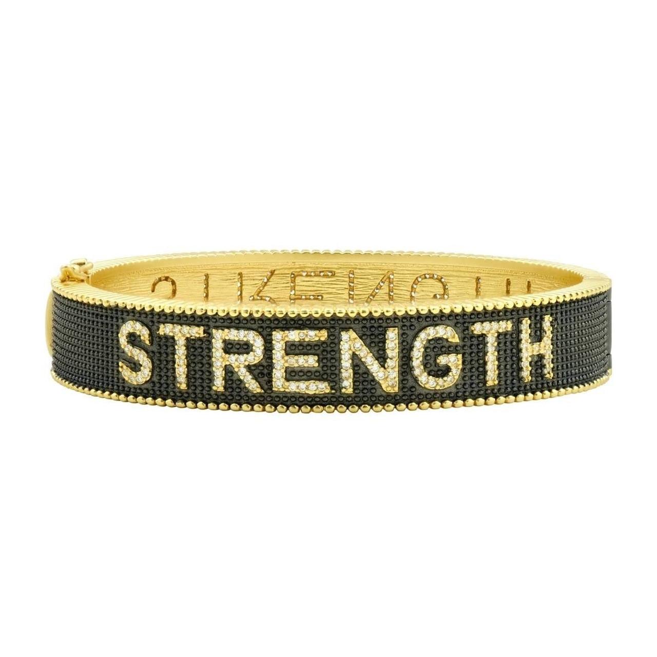 strength bangle gold rhodium