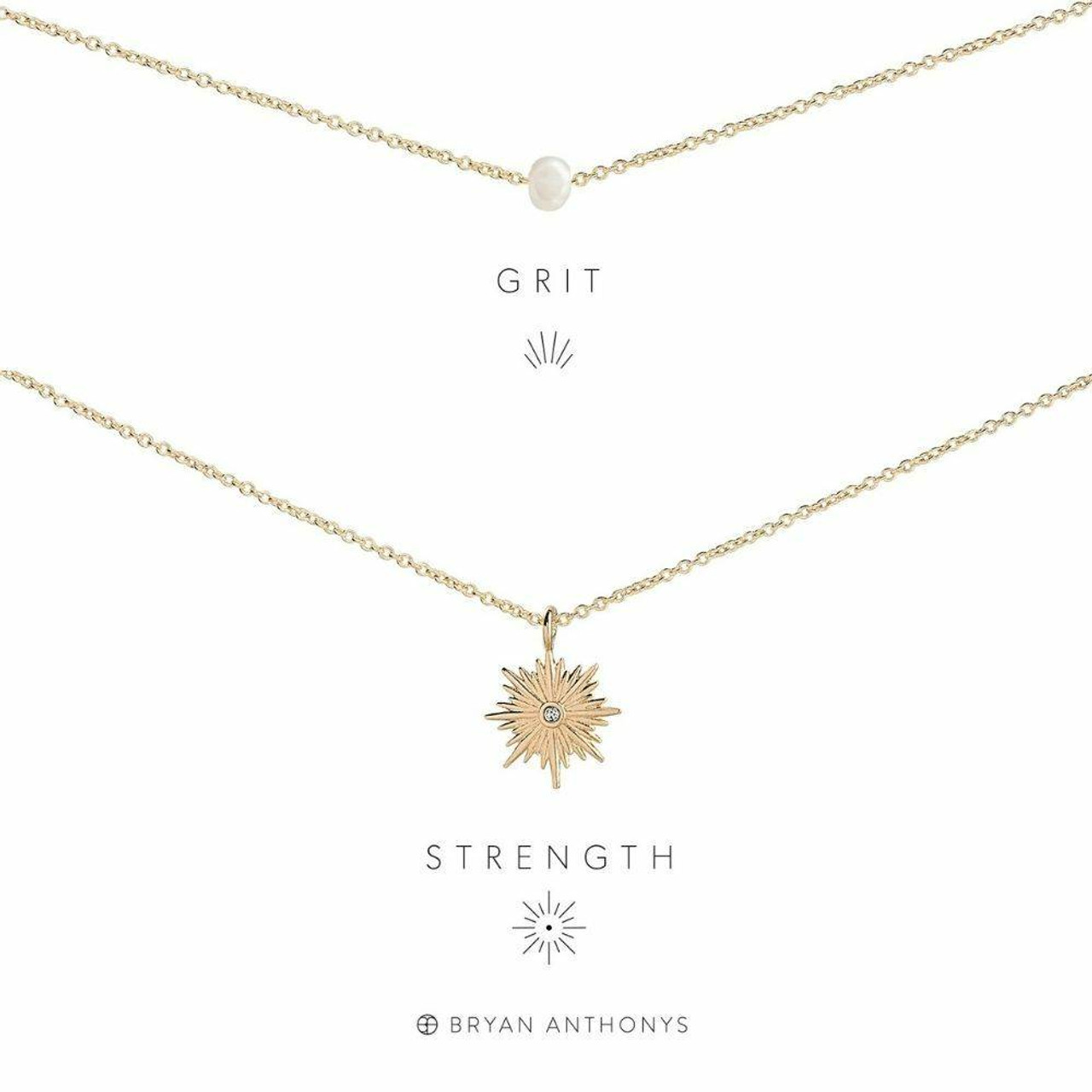 grit and strength necklace set gold