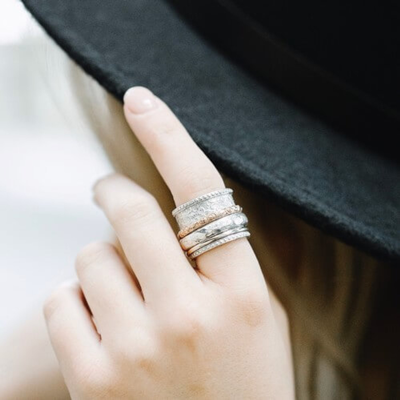 Thumb Ring Wide Ring Spinning Ring Women Ring Valentine Gift Anxiety Ring Tow Bend Ring Spinner Ring Handmade Ring Meditation Ring