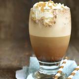 Latte with sugar cream coulis