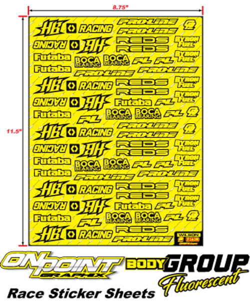 Race Sticker Sheets  Body Group - FLO