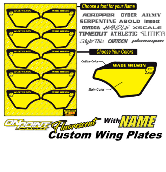 Custom Wing Plates-Fluorescent-W/NAME