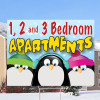 1, 2 & 3 Bedroom Penguin Sign