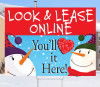 Happy Snowmen Look & Lease Online 18x24 Sign