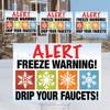 "12"" x 18"" Freeze Warning Bundle w/stepstakes (set/4)"