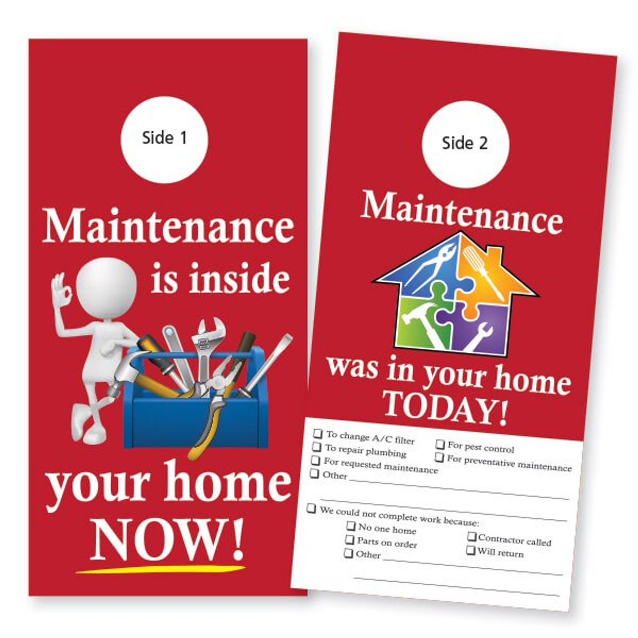 Maintenance Door Hanger with Checklist: Red