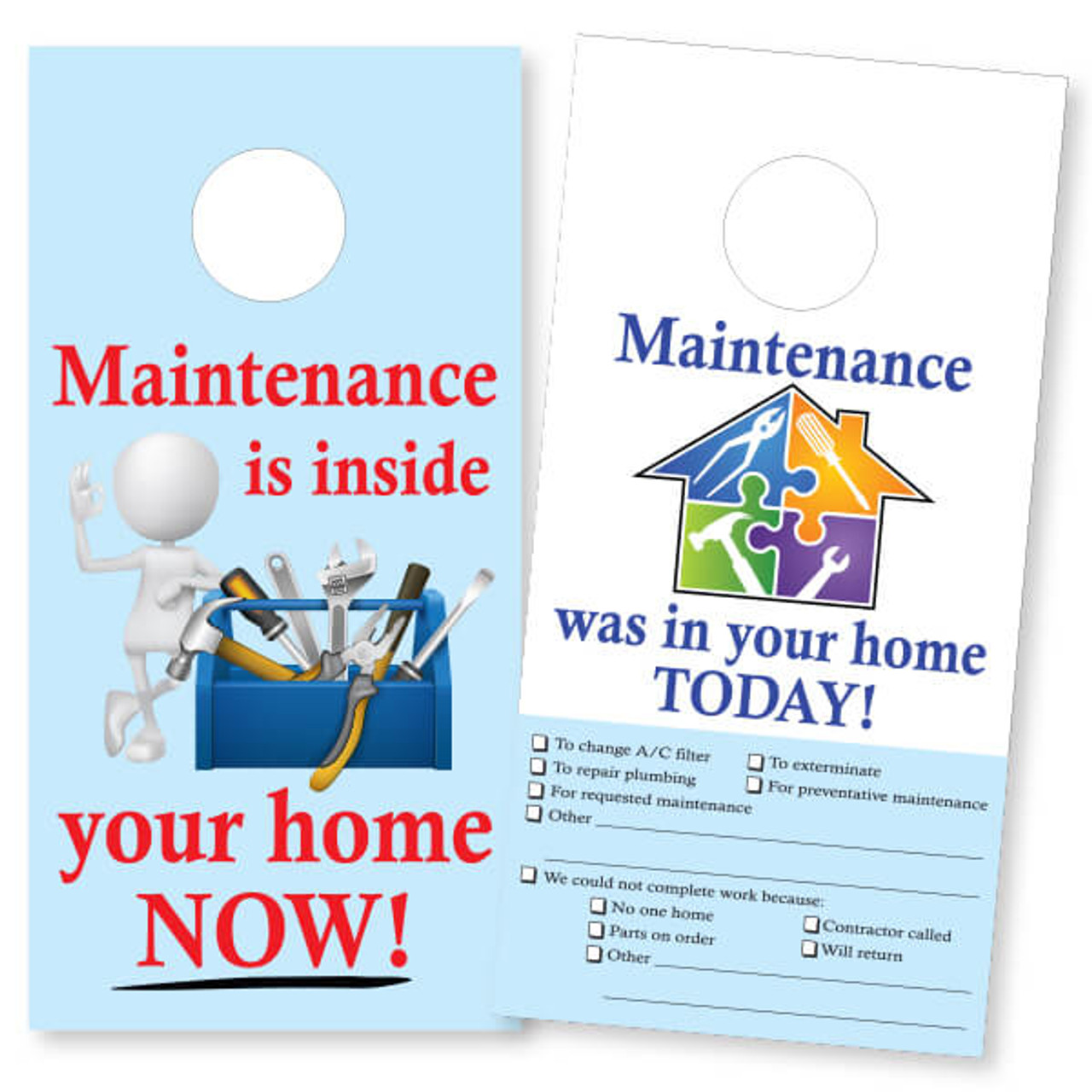 Maintenance Door Hanger w/checklist