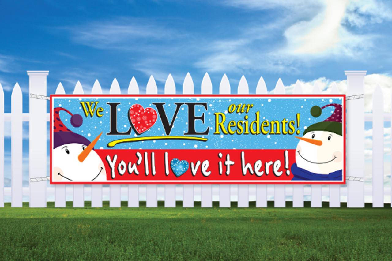 3' x 10' Banner Happy Snow Man