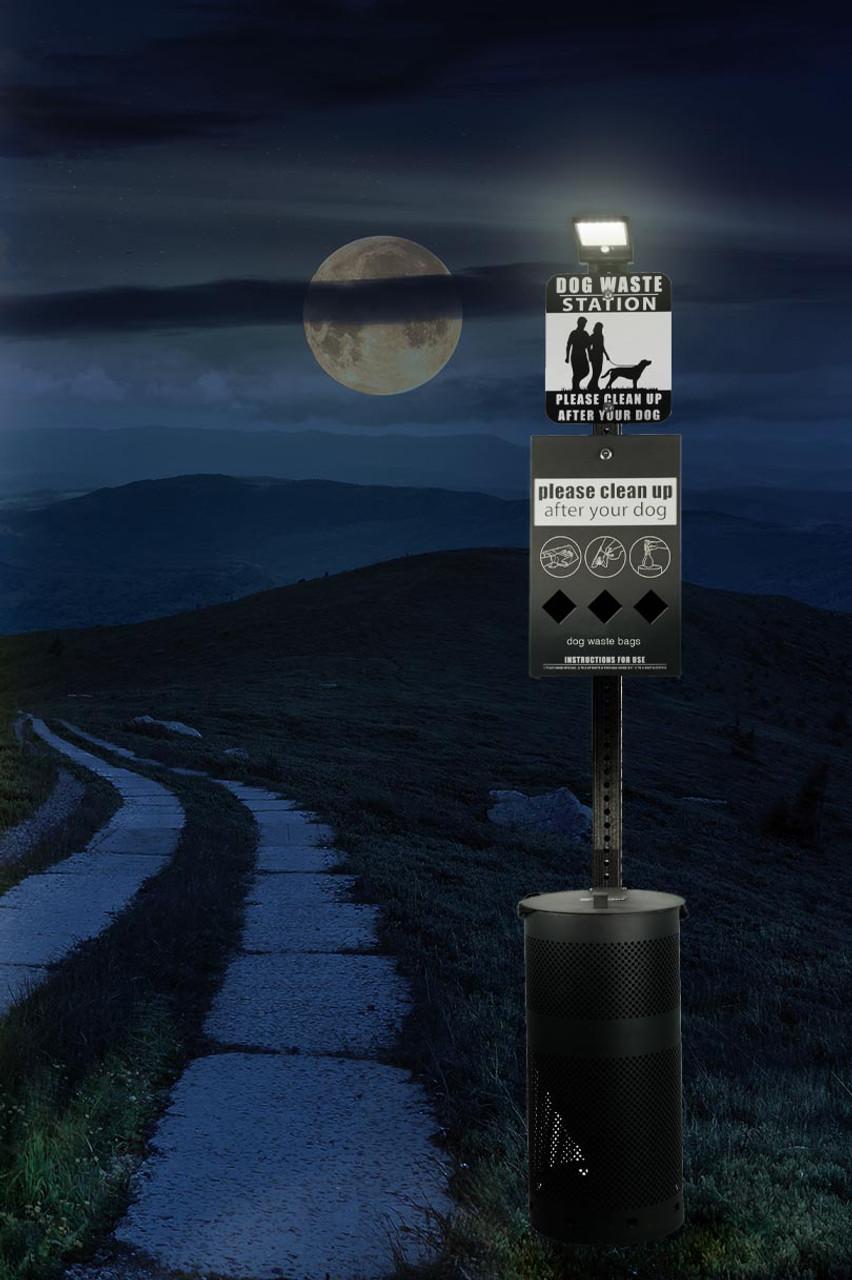 DOG WASTE STATION with Roll Bag System & Solar Light (Black)