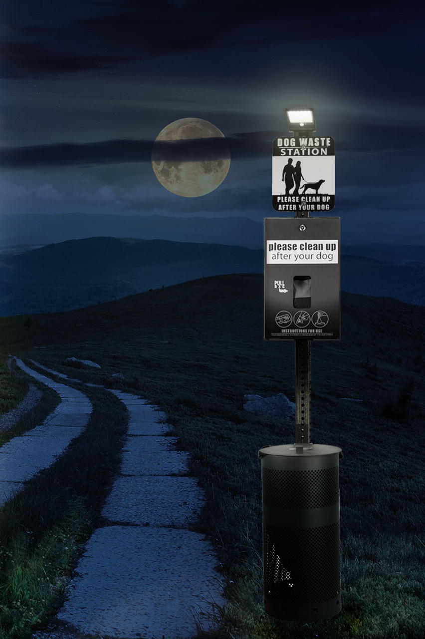DOG WASTE STATION with ONEpul Bag System & Solar Light (Black)