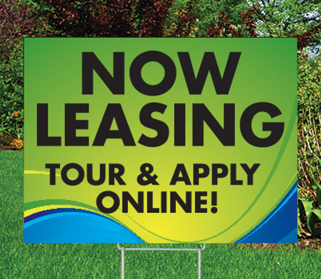 "Now Leasing Tour Online -18""x24""Sign- Coastal Waves Theme"