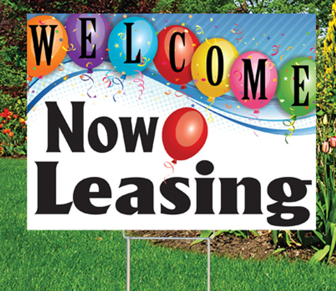 "Now Leasing -18""x24"" Sign- Upbeat Theme"