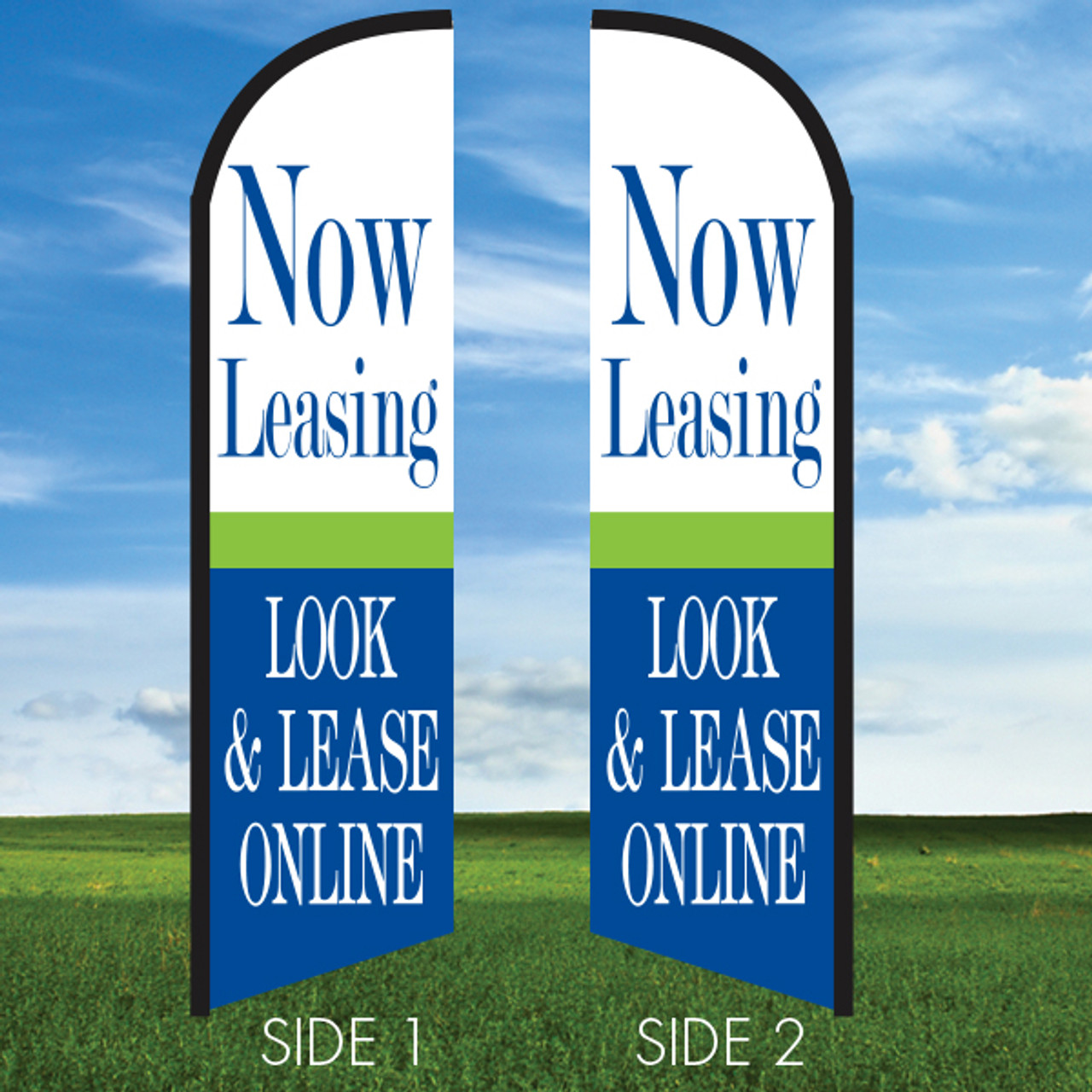 Cheerful:Now Leasing Online TWO-SIDED Flag Only Windleasers 24/7 Widebody