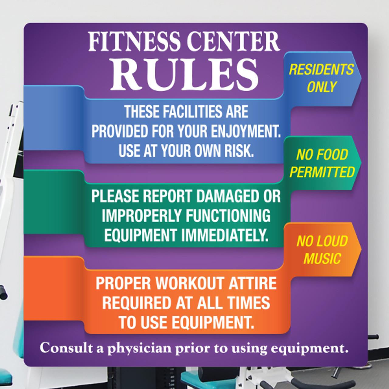 """Fitness Center Rules- 18"""" x 18"""" Styrene Sign"""