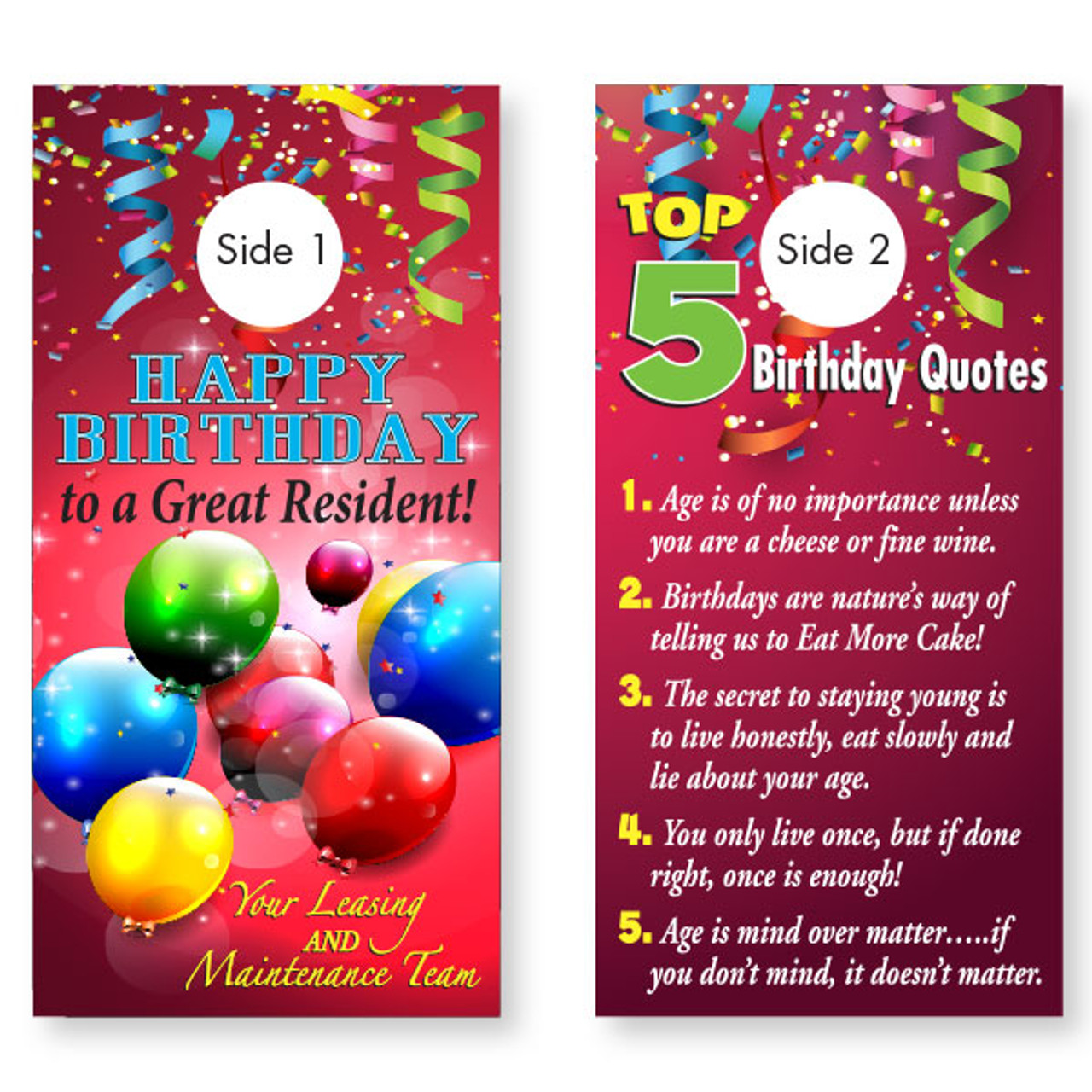 Birthday Quotes Doorhanger - 2 Sided