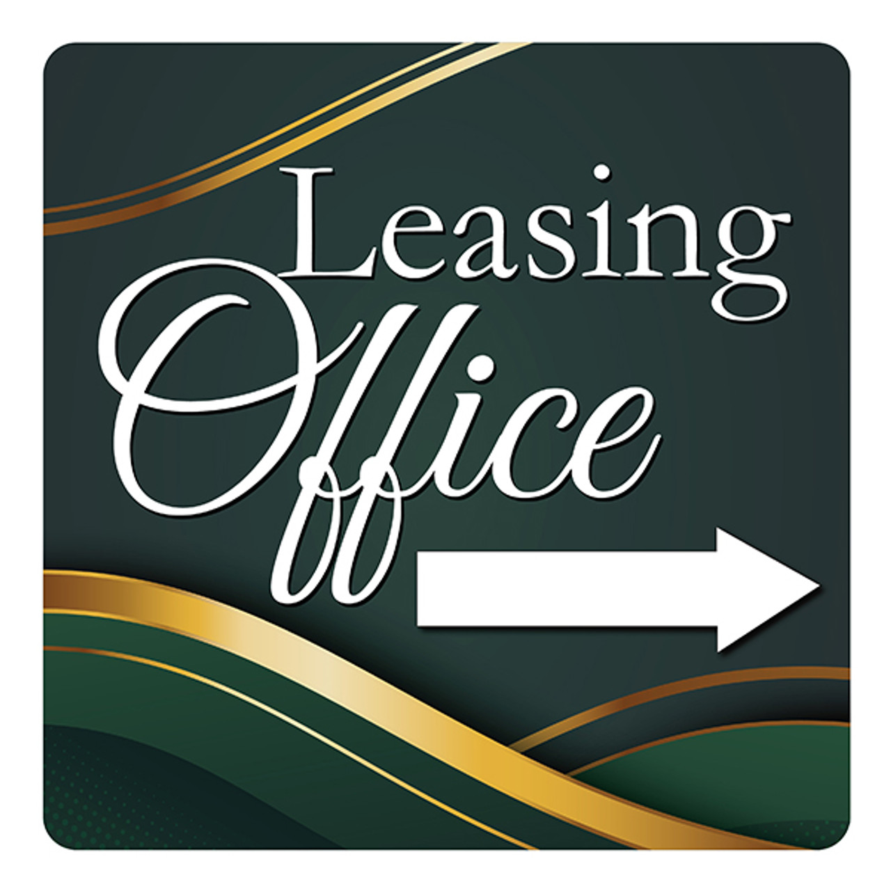 "Leasing Office (Arrow)-18"" x 18"" Aluminum Sign"