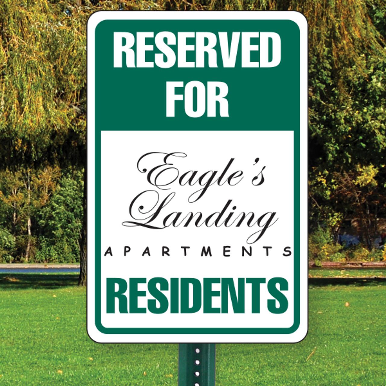 """Reserved For Resident Parking Semi Custom 12"""" x 18"""" Aluminum Sign"""