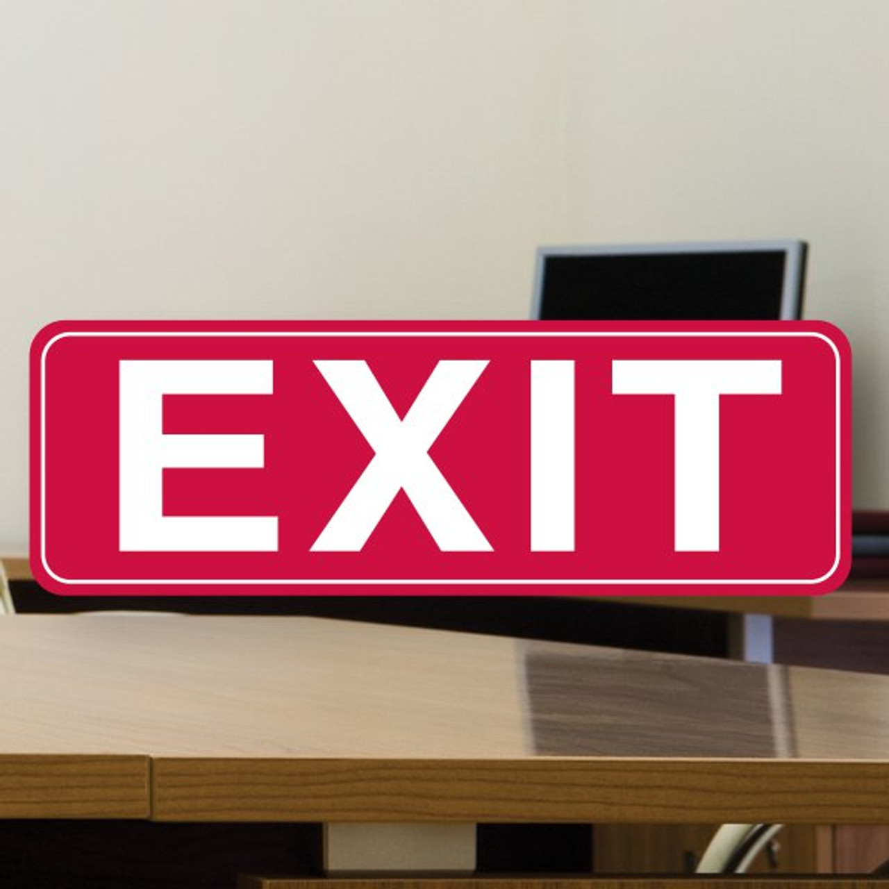 "3"" x 9"" Stock Styrene Sign - Exit"