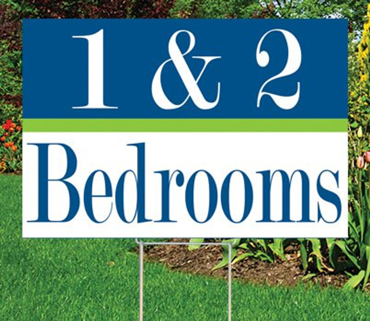 """1 & 2 Bedrooms- 12""""x 18"""" Sign- Cheerful Theme"""