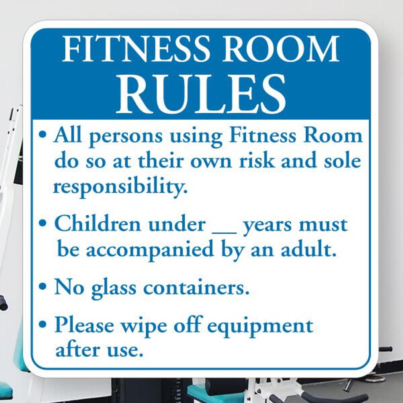 """Fitness Room Rules- 12"""" x 12"""" Styrene Sign"""