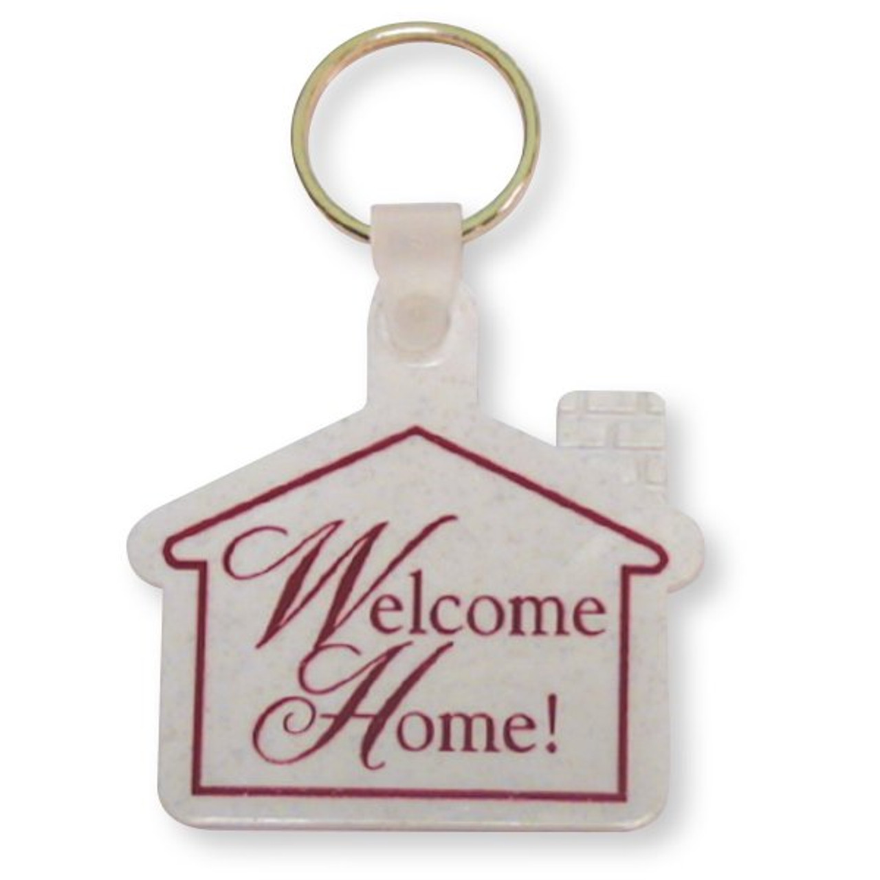 Welcome Home Key Tag Granite -Burgundy Imprint