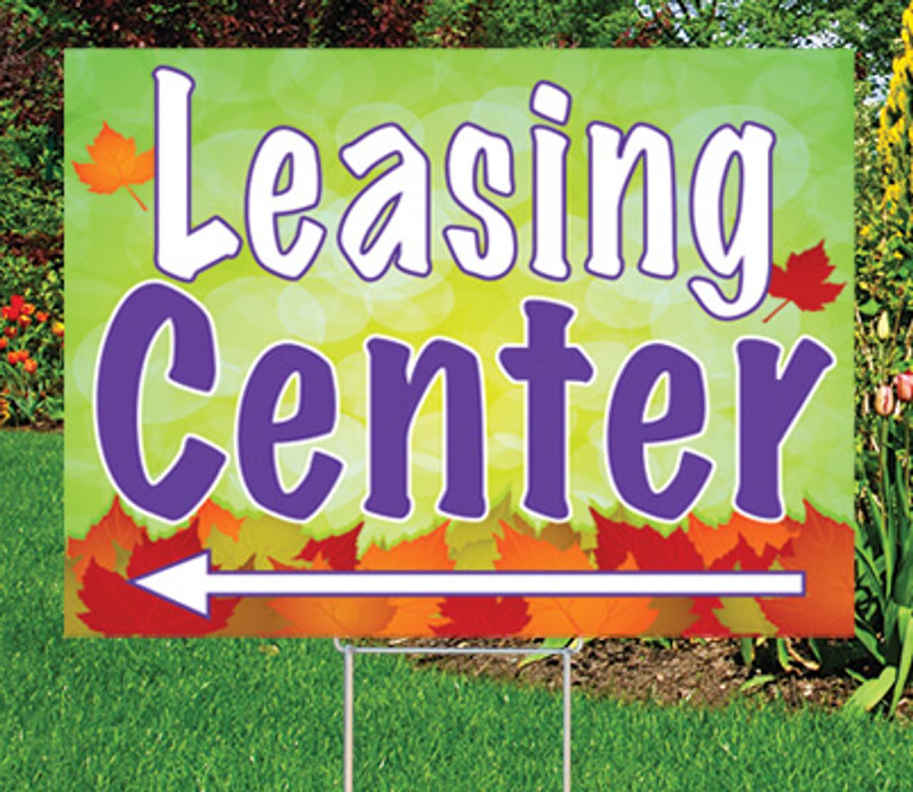 "Leasing Center (arrow) 18""x24"" Sign-Autumn's Bright Colors"